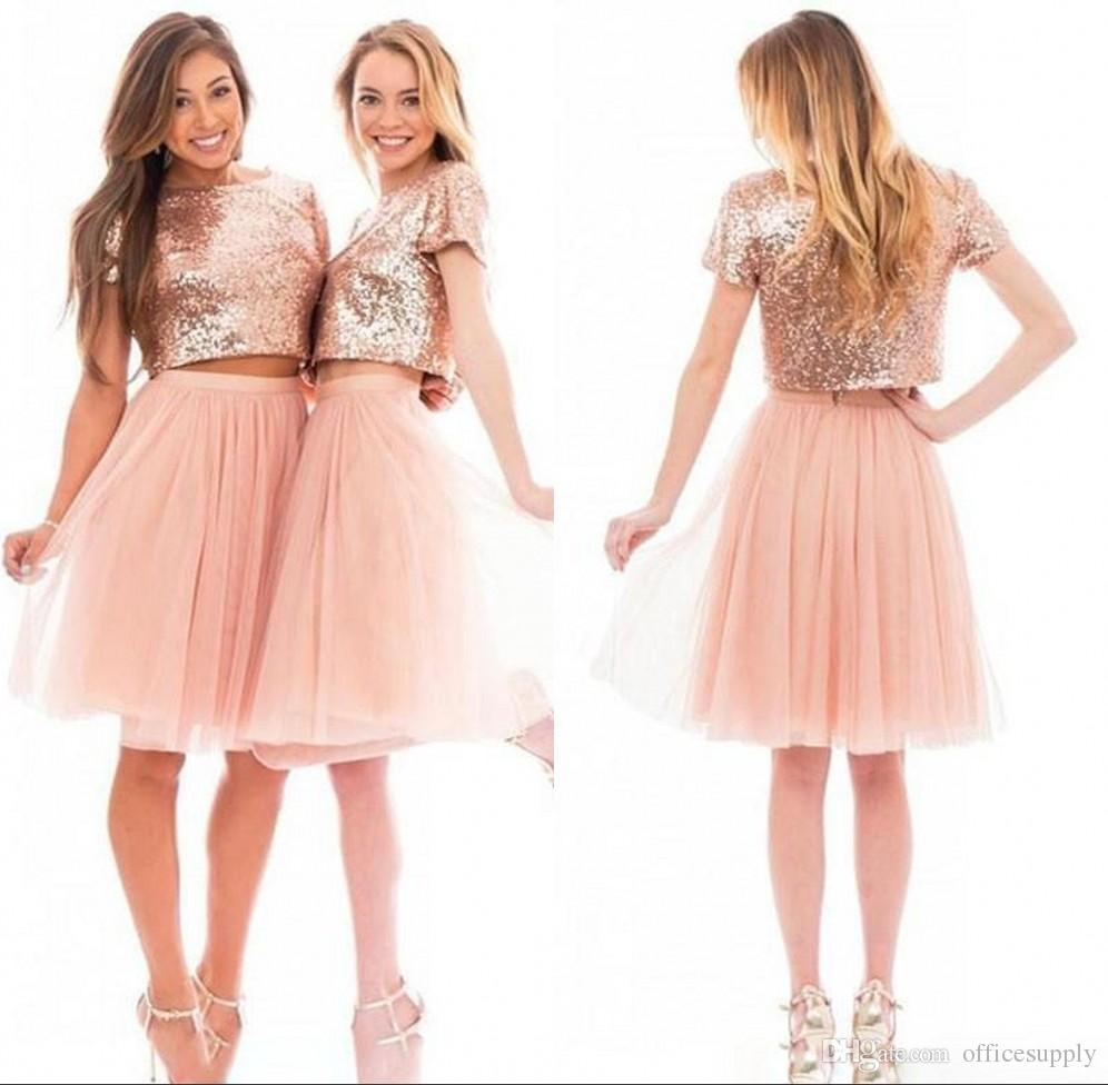 2017 sparkly blush pink rose gold sequins short sleeve bridesmaid 2017 sparkly blush pink rose gold sequins short sleeve bridesmaid dresses cheap knee length junior two pieces bridesmaids prom party dresses periwinkle ombrellifo Image collections