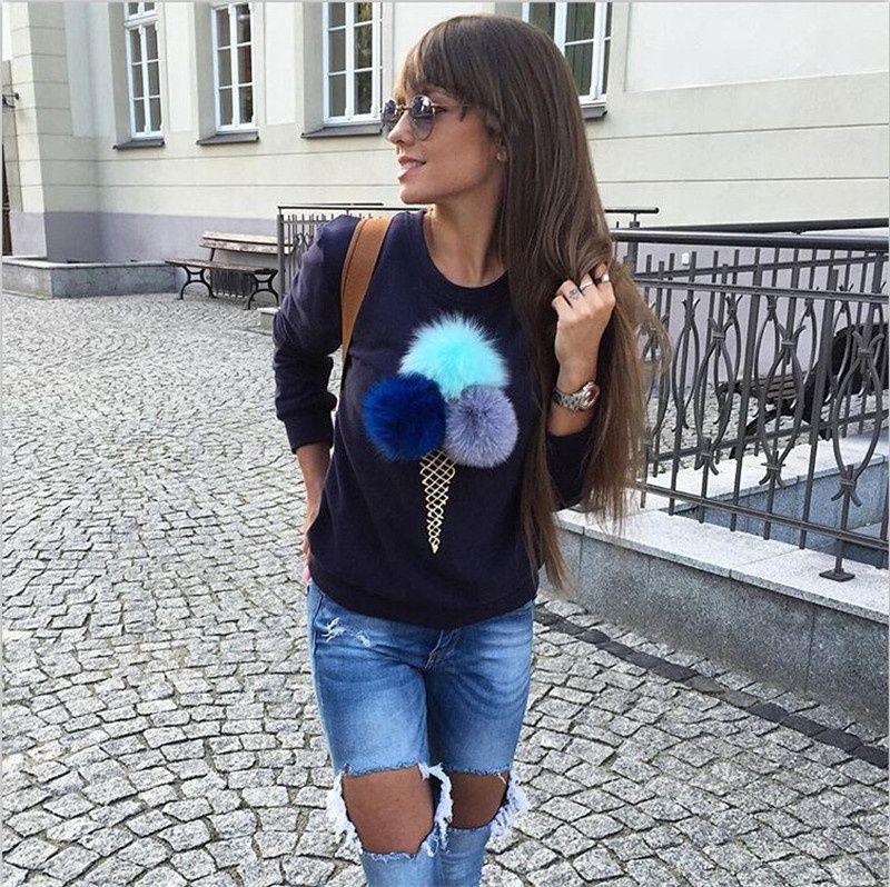 Fashion Cute Furry Ball Ice Cream Cone Printed Round Neck Long Sleeve Fleece Jacket Dress