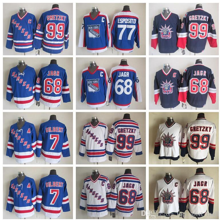 df938cf57 2019 Men 77 Phil Esposito Jersey 99 Wayne Gretzky 68 Jaromir Jagr 7 Rod  Gilbert New York Rangers Vintage Jerseys Ice Hockey CCM From  Top sport mall
