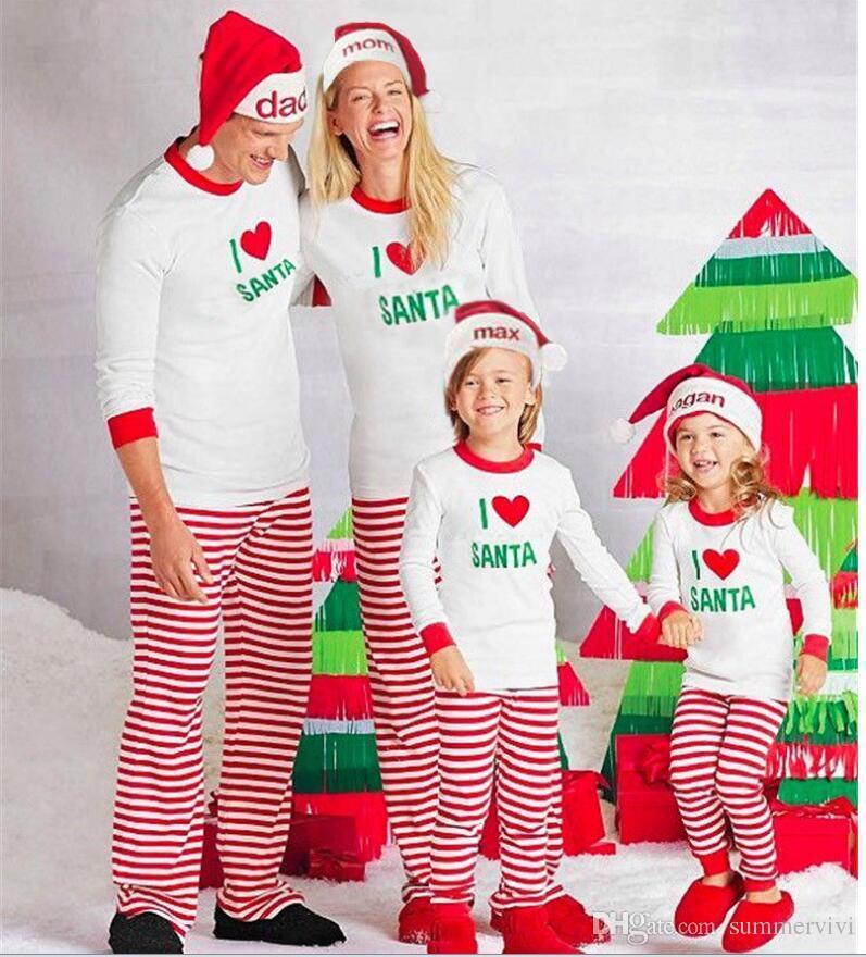 Family Christmas Pajamas Sets Boy Girl Kids Love Heart Letter ...
