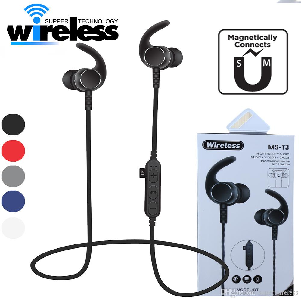8d8952b78a4 MS-T3 Magnetic Bluetooth Sport Earphone headphones Wireless Headset earbuds  With Mic MP3 Bass Stereo BT 4.2 For iphone xiaomi samsung