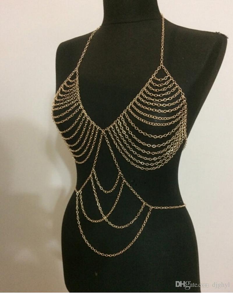 New design women personality tassel gold body chain jewelry for armor shawl symmetric multi layer exaggerated bikini chains accessories
