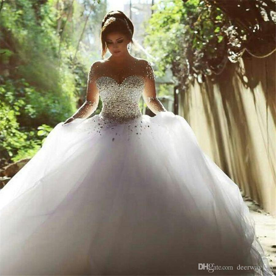 Vestidos De Novia Con Mangas Nude With Crystal Sweep Train Scoop Rhinestone Wedding Dresses Gown Bling Bling Bridal Gowns