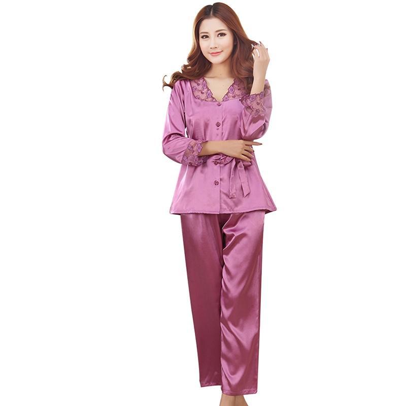 Mujer Ropa pijama unid Hogar Floral Pantalones Ropa de Conjuntos Pijama Noche de Dormir Encaje Para Confort Ropa 1 de Sexy Invierno de Otoño Mujer fZdqxYq