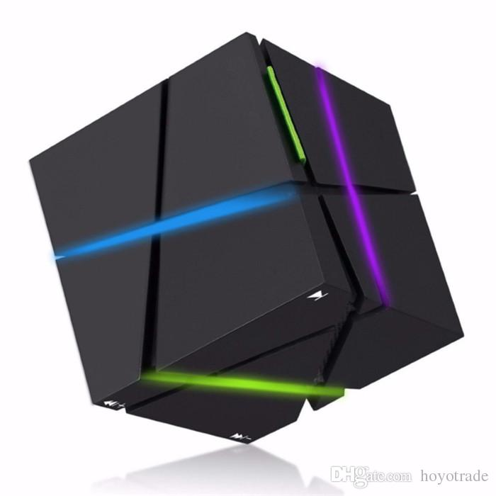 New Cube Bass LED Light Bluetooth Speaker Mini Portable Cute Wireless Handsfree Speakers With LED With FM TF Card Lights hot selling