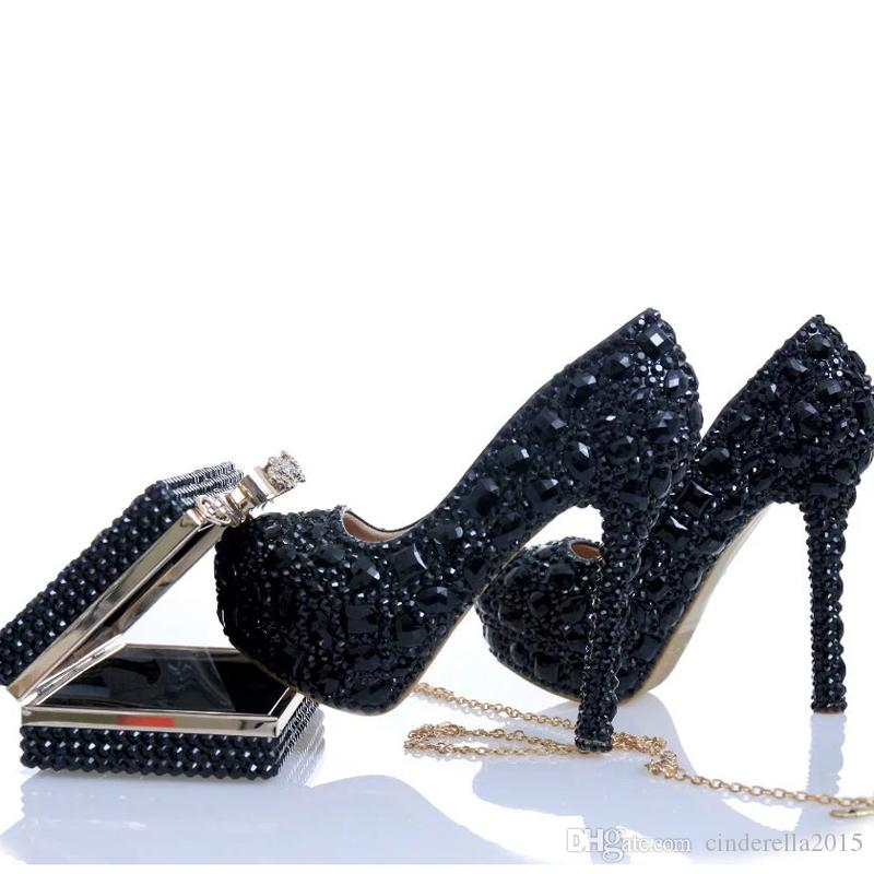 d1a4df4c3f2 Black Crystal Bridal Dress Shoes with Clutch Rhinestone Wedding ...