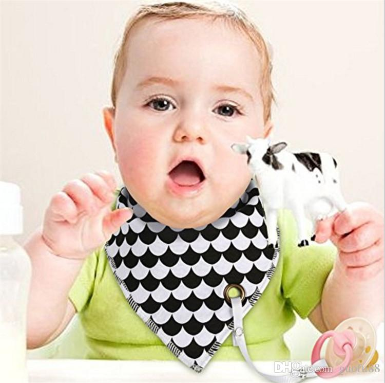 100% Original Little Tots Toddler Baby Bibs with Pacifier Clip Pure Cotton Double Layer Cartoon Printed Saliva Towel Triangle Scarf Newborn