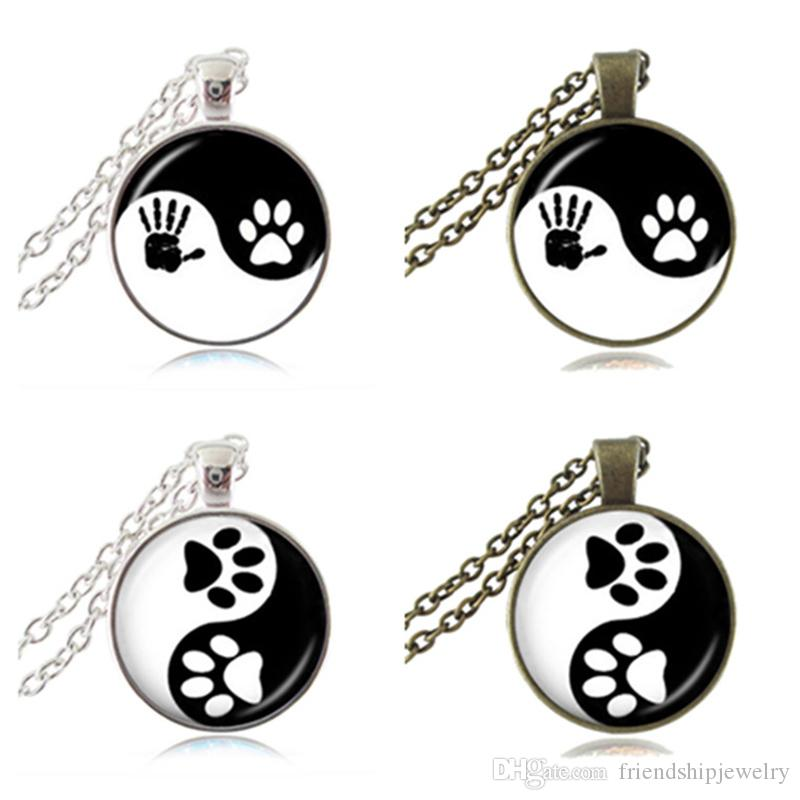Yin yang necklace pet paw print pendant handprint art charm tai ji yin yang necklace pet paw print pendant handprint art charm tai ji jewelry zen religious ying yang necklace gifts for dog animal lover yin yang necklace pet aloadofball Gallery