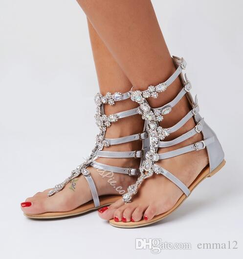 الكريستال النساء صندل 2017 أزياء الصيف النساء الأحذية زحافات الصنادل الراين المصارع الصنادل النساء أحذية زائد الحجم 43