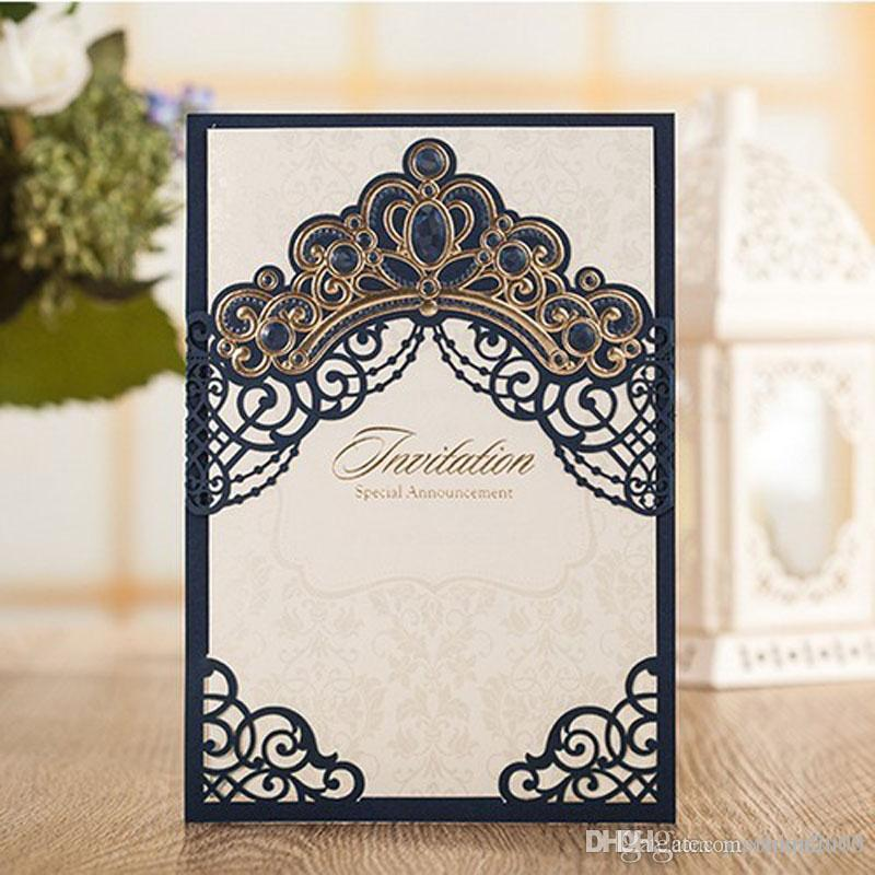 Blue/Red/Pink/Gold Free Printing Wedding Invitations With Envelopes ...