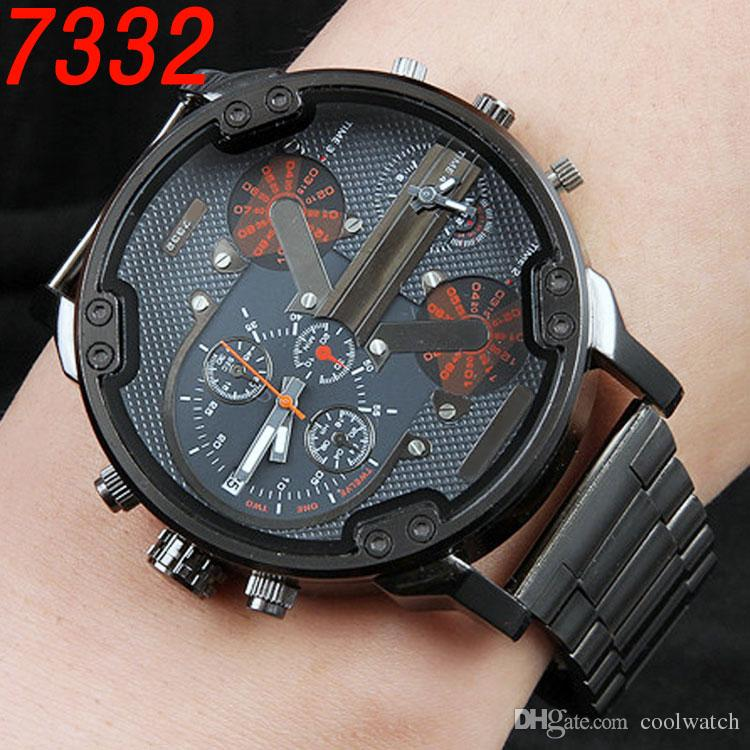 Dual Clocks Working Mens Watches Sport Big Dial Top Brand Quartz Gold Luxury Watch Full Stainless Steel band Auto Date Wristwatches For Men