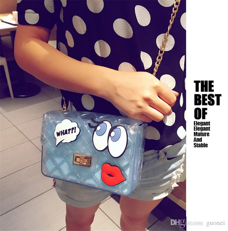 새로운 패션 젤리 투명 가방 핸드백 사탕 눈 가방 플라스틱 여성 여러 가지 빛깔의 Furly 유명 브랜드 PVC 크로스 바디 달콤한 귀여운 가방