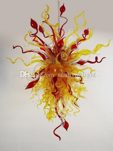 Yellow Red Clear Blown Glass Chandelier 110v/120v/220v/240v European Lamp Medium Size Hand Blown Glass