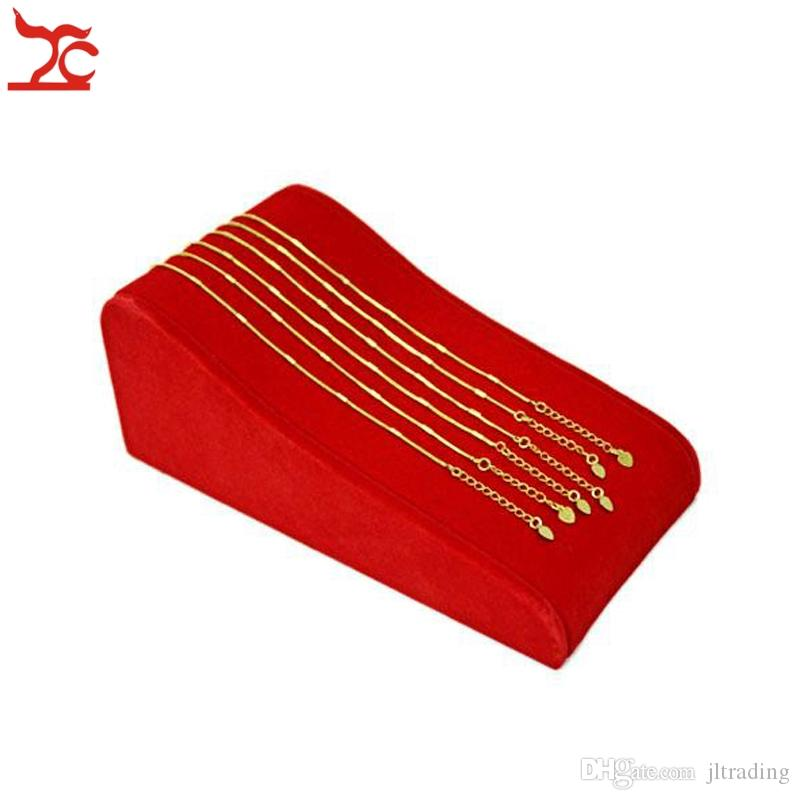 High Quality Jewelry Display Red Velvet Bracelet Chain Anklet Stand 8 Hooks Golden Pendant Organizer Holder Showcase