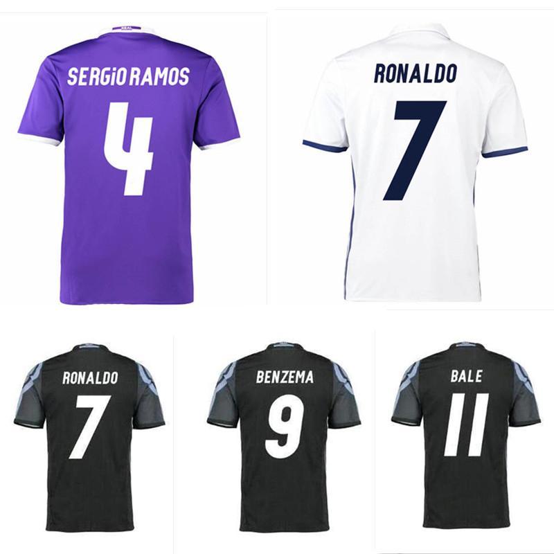 buy popular 4d6db 16078 Thai Quality 16 17 RONALDO Jersey JAMES RAMOS BENZEMA shirt 2016 2017  MODRIC camisetas de futbol Big Size XXL XXXL XXXXL