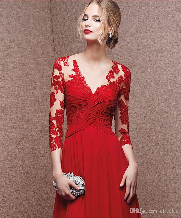 Nice Christmas Party Dresses: Elegant Lace Chiffon Christmas Party Dresses Circelee Red