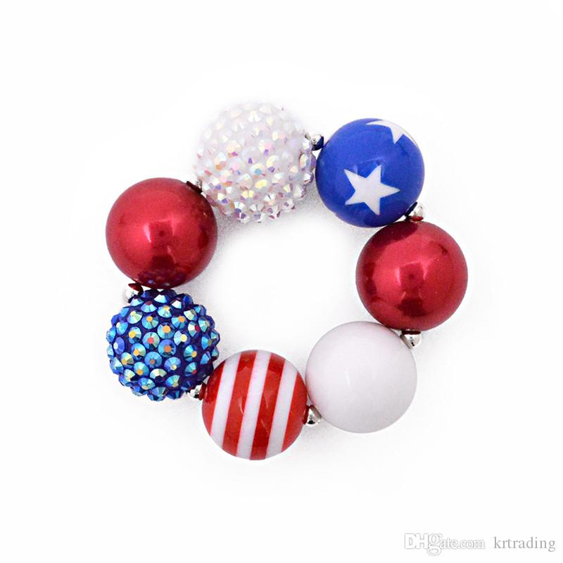 Girls Independence Day bead necklace set beaded necklace+bracelet stars and striped glitter patterns kids arylic jewelry sets