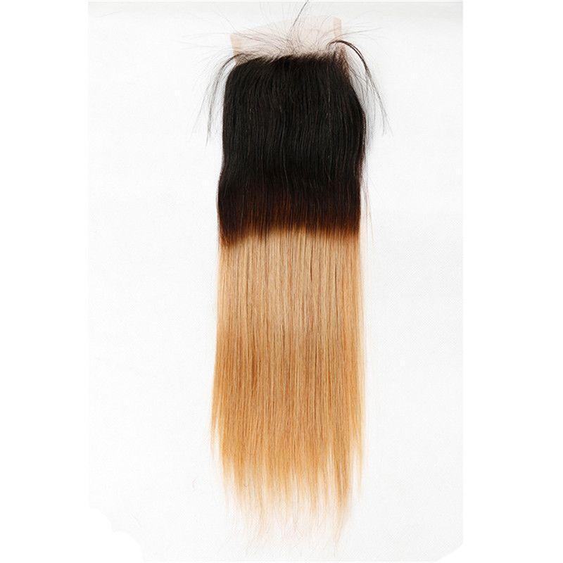 Ombre Brasilianisches Reines Haar Mit Verschluss Brasilianische Gerade Reines Haar Mit Verschluss 3/4 Gerade Haarbündel Mit Spitzenverschluss