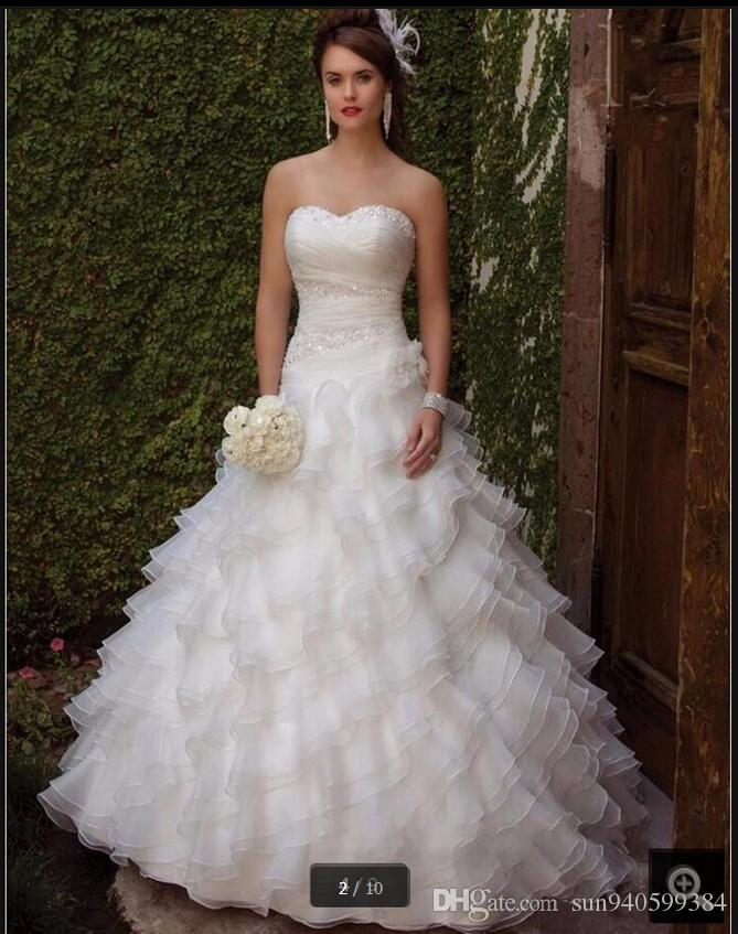 2017 Elegant Ball Gown Layered With Ruffles Formal Wedding Dresses Beaded Spaghetti Straps Sweetheart Neck Puffy Gowns On Sale Best