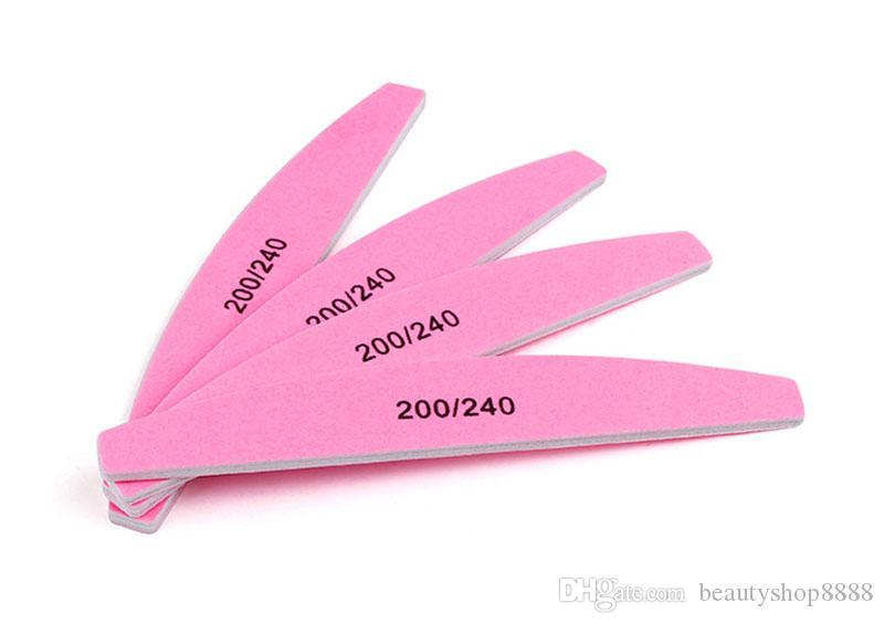 J1 D050 Pro Nagelfeilen Manicure Sanding Buffer Waschbar Pink Halbrunde, doppelseitige Schmirgelplatte 200/240 Grit Nail Buffering Tools