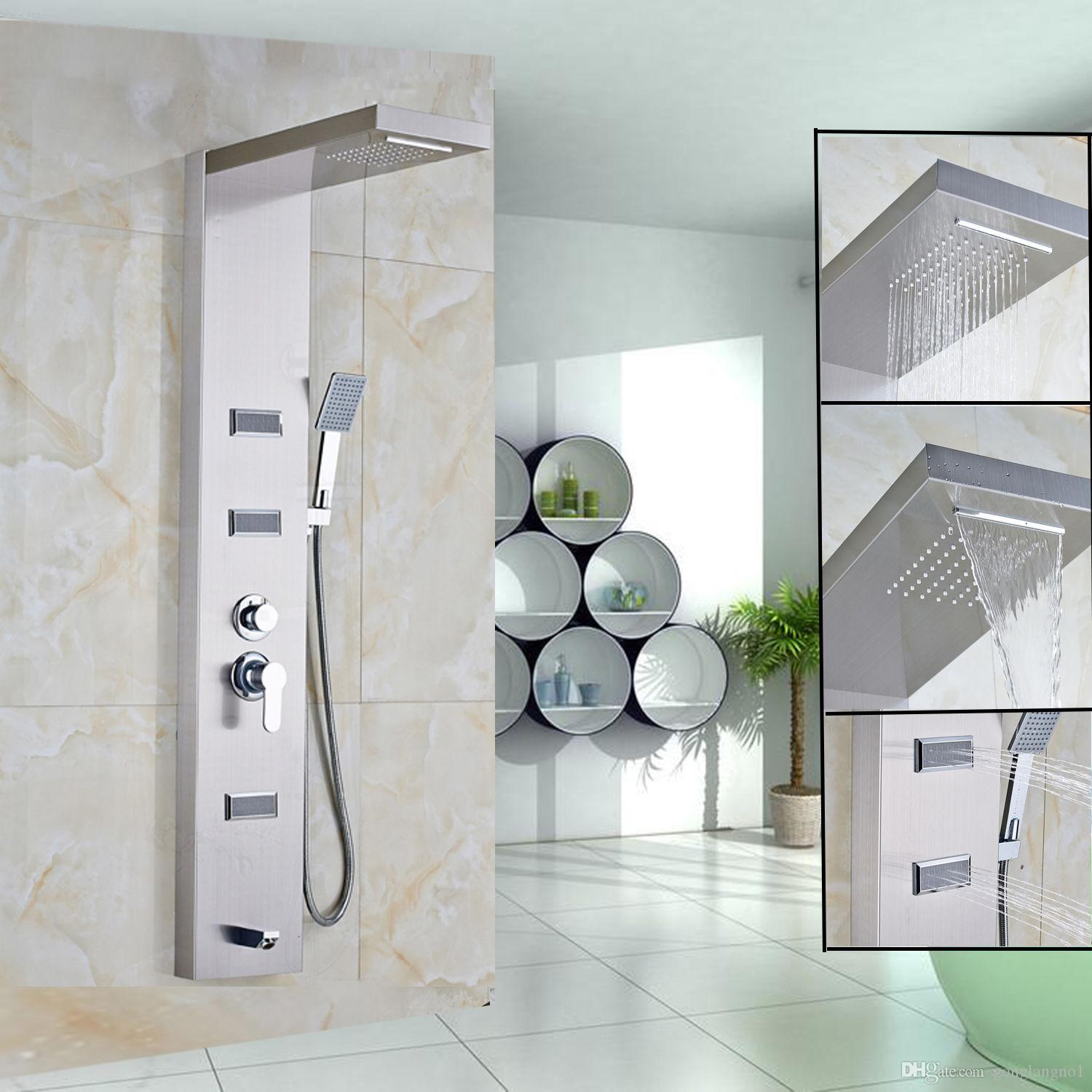 Wholesale And Retail 55stainless Steel Shower Panel Rain Waterfal