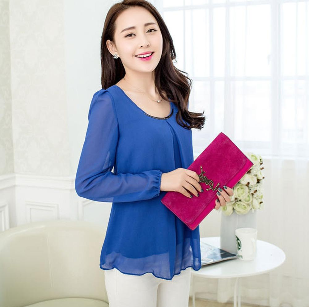 d5fdc29f4a1 New Womens Tops Fashion Shirts Women Spring Chiffon Blouses Plus ...
