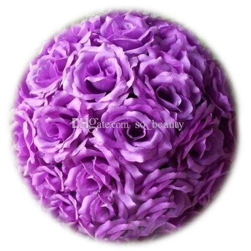 20cm Artificial Silk Rose Pomander Flower Balls Wedding Party Bouquet Home Decoration Ornament Kissing Ball Hop