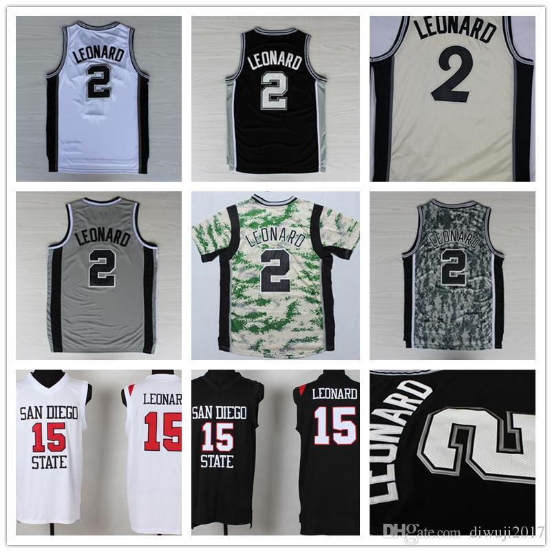 5ec759d9c404 ... basketball jerseys leonard  2018 hot sale sport 2 kawhi leonard jersey  san diego state 15 kawhi leonard college shirts
