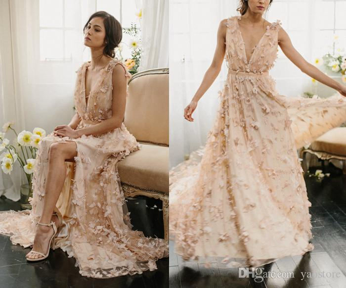 Discount Bohemian Blush 3d Butterfly Appliques A Line Wedding Dresses Full Skirt 2017 Deep Plunging Neckline Front Split Bridal Gowns Custom Made Knee