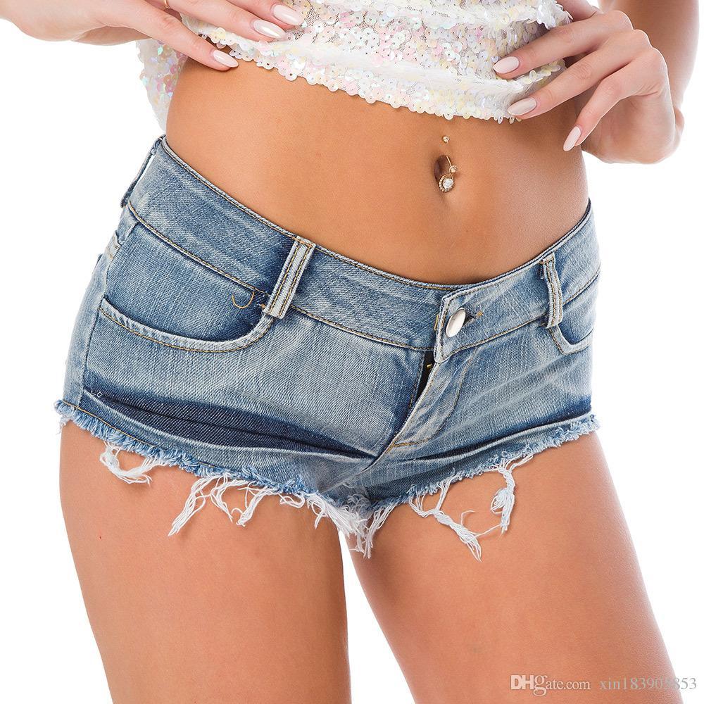 Neue Ankunft Sexy Frauen Shorts Mode Sommer Denim Loch Quaste Kurze Niedrige Taille Stretch Mini Super Jeans Shorts Clubwear