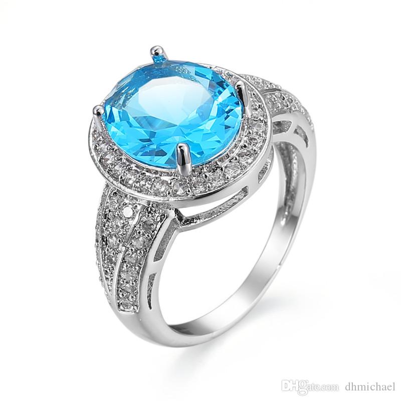 Classic Style Clear/ Hot Pink / Turquoise CZ White Gold Filled Ring Wedding Engagement Party Lover Finger Ring Size6-10