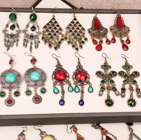 Fashion Colored Exaggerated Long Section Jewelry Earring Bohemian Tassel Gemstone Earrings Cheap Rhinestone Dangle Earrings Wholesale