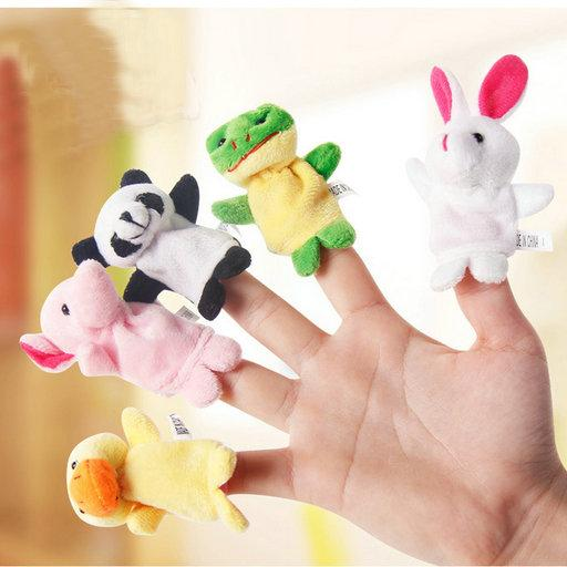 HOT Baby Plush Toy Finger Puppets fashion Stuffed Animals plus animals creative Talking Props 10 animal group best quality gift 50