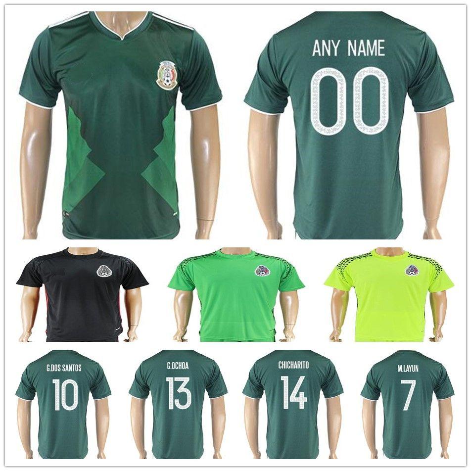 322bb9944 ... 2017 2018 Mexico National Team Football Jerseys Maillot de Foot Green  White Black R.Jimenez 2018 Mexico adults national Team CHICHARITO Home  Soccer ...