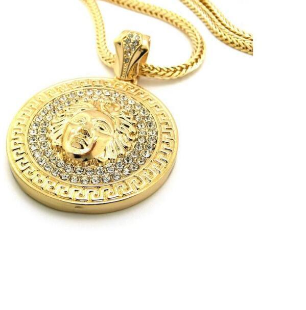 رجل الهيب هوب سلاسل طويلة قلادة مجوهرات الذهب سلفر ميدوسا الرمزية مثلج خارج قلادة الماس pece قلادة مصمم القلائد النساء الرجال 2 قطع