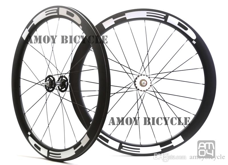 25mm width 50mm high HED paint fixed gear carbon wheelset full carbon 700C road track bike bicycle wheelswheels