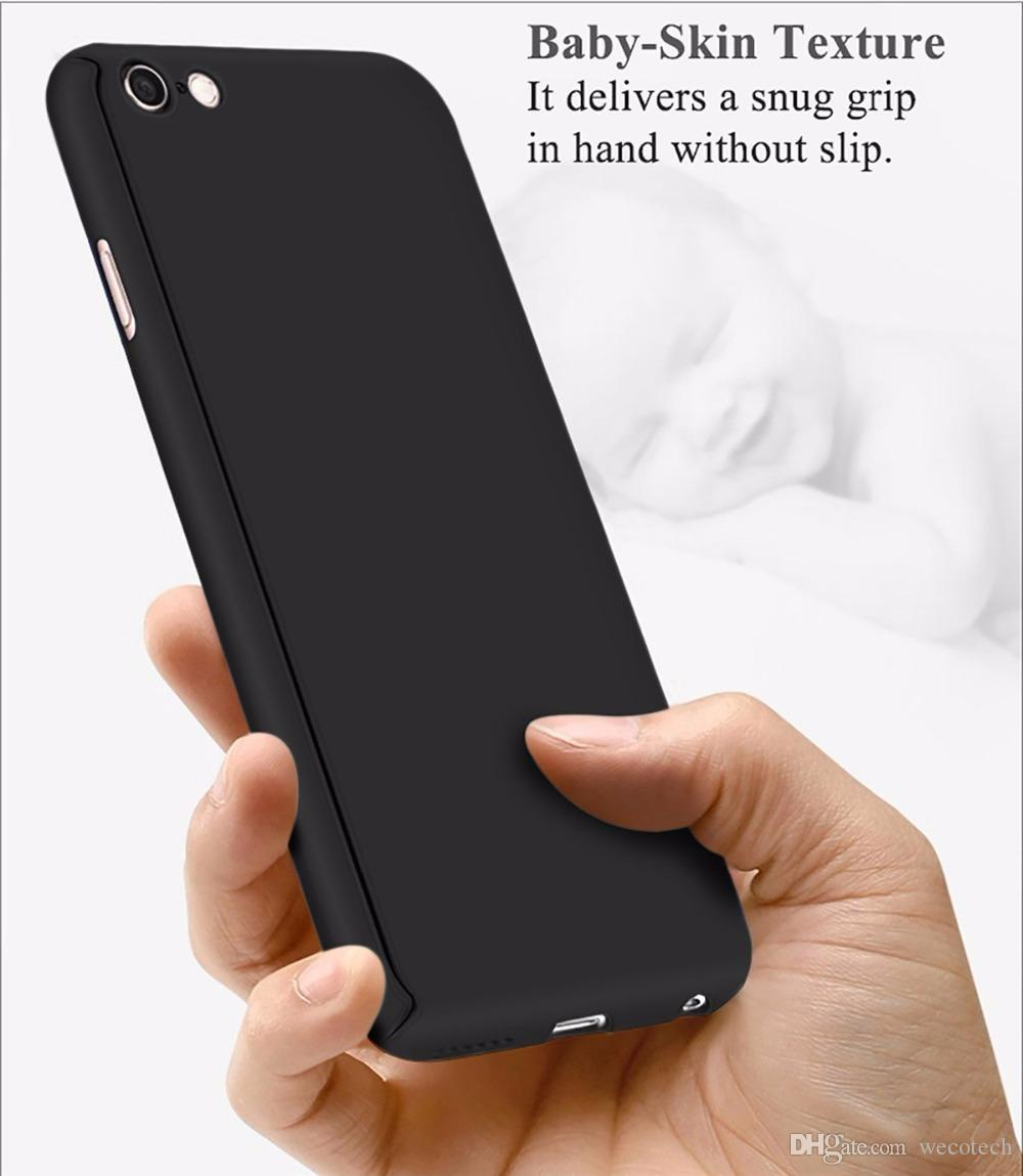 360 Degree Full Body Cover Protection Slim Hybrid Phone Case + Tempered Screen Protector Glass Film for iPhone 7
