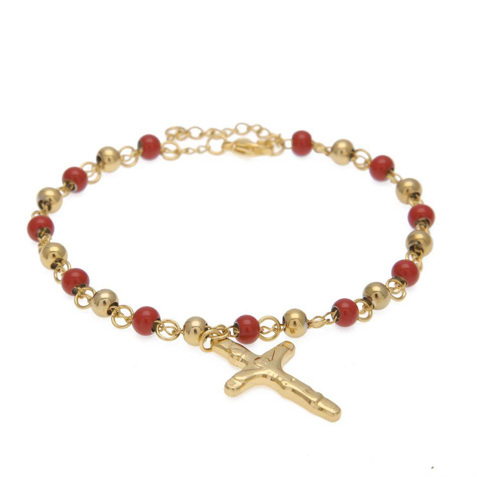 Männer Frauen Edelstahl Jesus Kreuz Pulseras Rosenkranz Armbänder Gold Perlenarmband Mode Hip Hop Schmuck 5 Farbe 18 cm