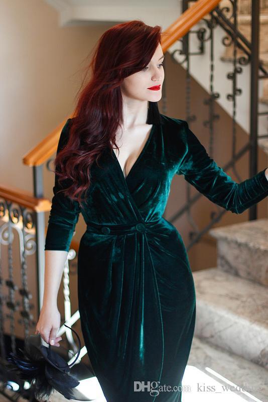 Emerald Green Velvet Evening Dresses Knee Length Charming Party Cocktail Dress Long Sleeves Formal Bride Gown Custom Deep V Neck