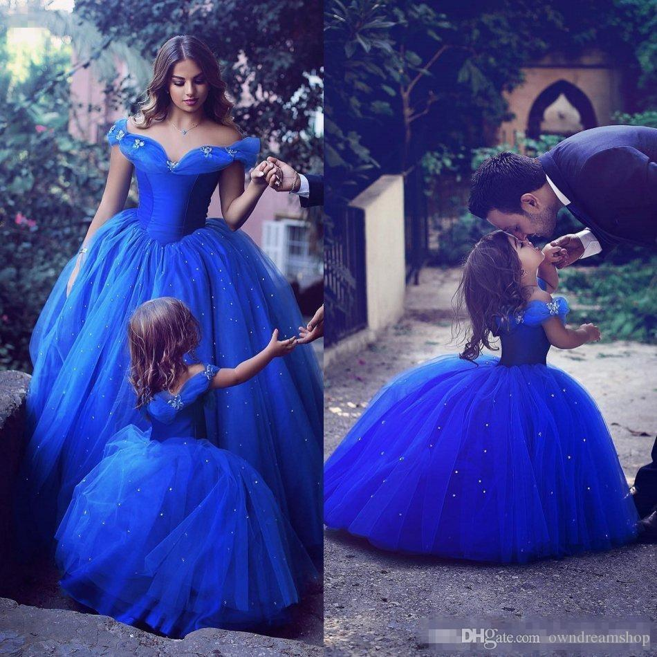 58d02a03af0 Adorable Cinderella Flower Girl Dresses Royal Blue Kids Pageant Gowns Off  Shoulder Beaded Ball Gown Communion Special Occasion For Weddings Chiffon  Flower ...