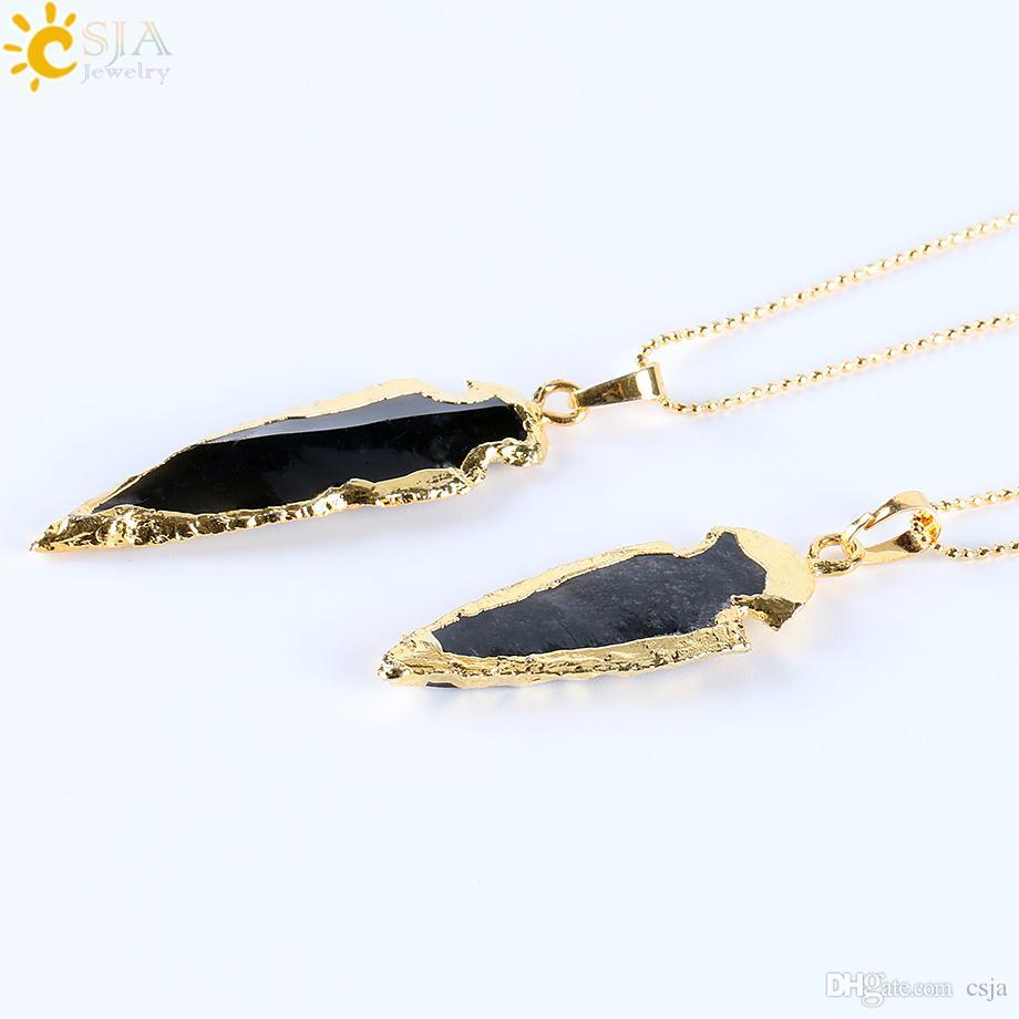 CSJA الأسود الطبيعي الهندي العقيق العقيق السهم سحر المعلقات قلادة مطلي بالذهب الخام الحجر الطاقة المجوهرات المصنوعة يدويا E310 ب