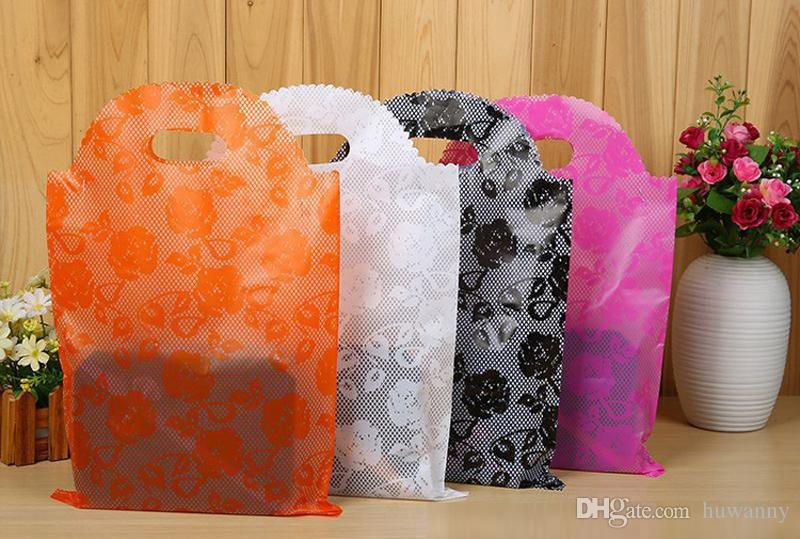 25*40 Plastic Gift Bags Thicher PVC Colorful Clothing Shopping Pouches Bags Packaging Wholesale Free Ship - 0032Pack