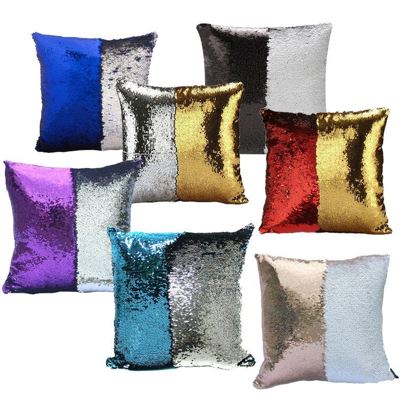 2017 Nova Two-color Lantejoulas Fronha Sereia Travesseiro Cobre Sofá Em Casa Decoração Do Carro Almofada 31 Estilo Frete Grátis 40 * 40 cm Presentes HH-P03