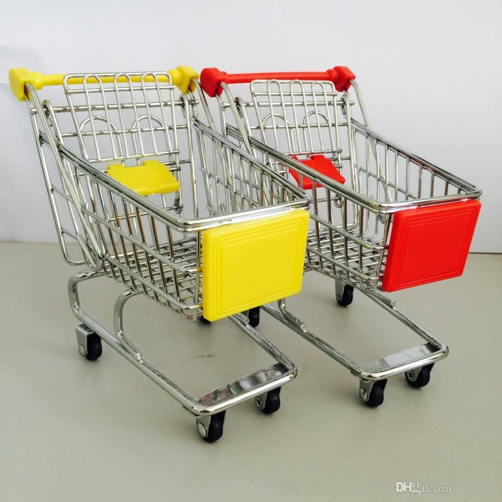 Mode Mini Supermarché Chariots À Main Mini Shopping Cart Décoration De Bureau Stockage Téléphone Support Bébé Jouet DHL