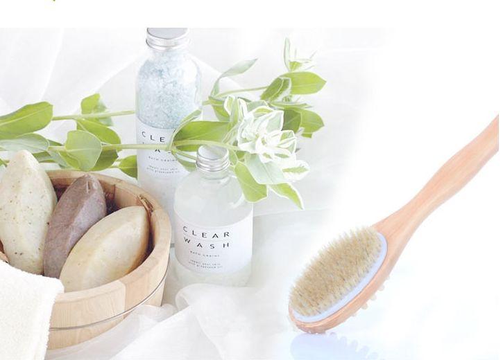 35 cm 2-em-1 Face Cerdas Naturais Lavador Longo Lidar Com madeira Spa Chuveiro Escova de Banho Massagem Escovas Do Corpo Frete grátis