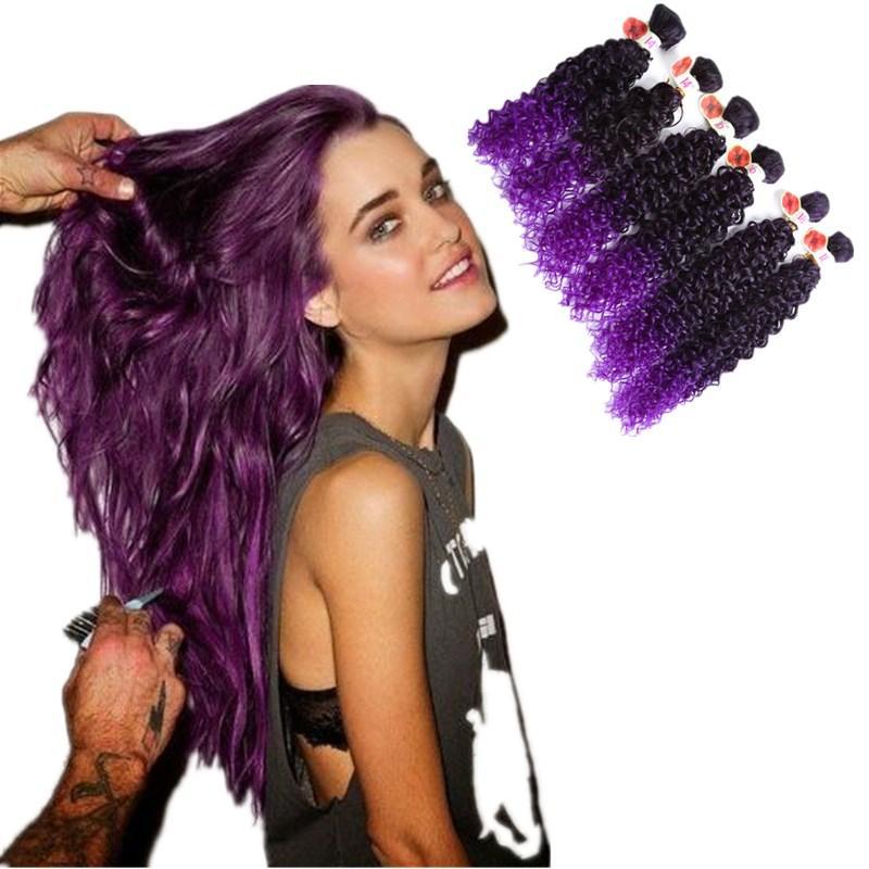 1bpurplebrownblonde Synthetic Hair Weave Bundles Kinky Curly