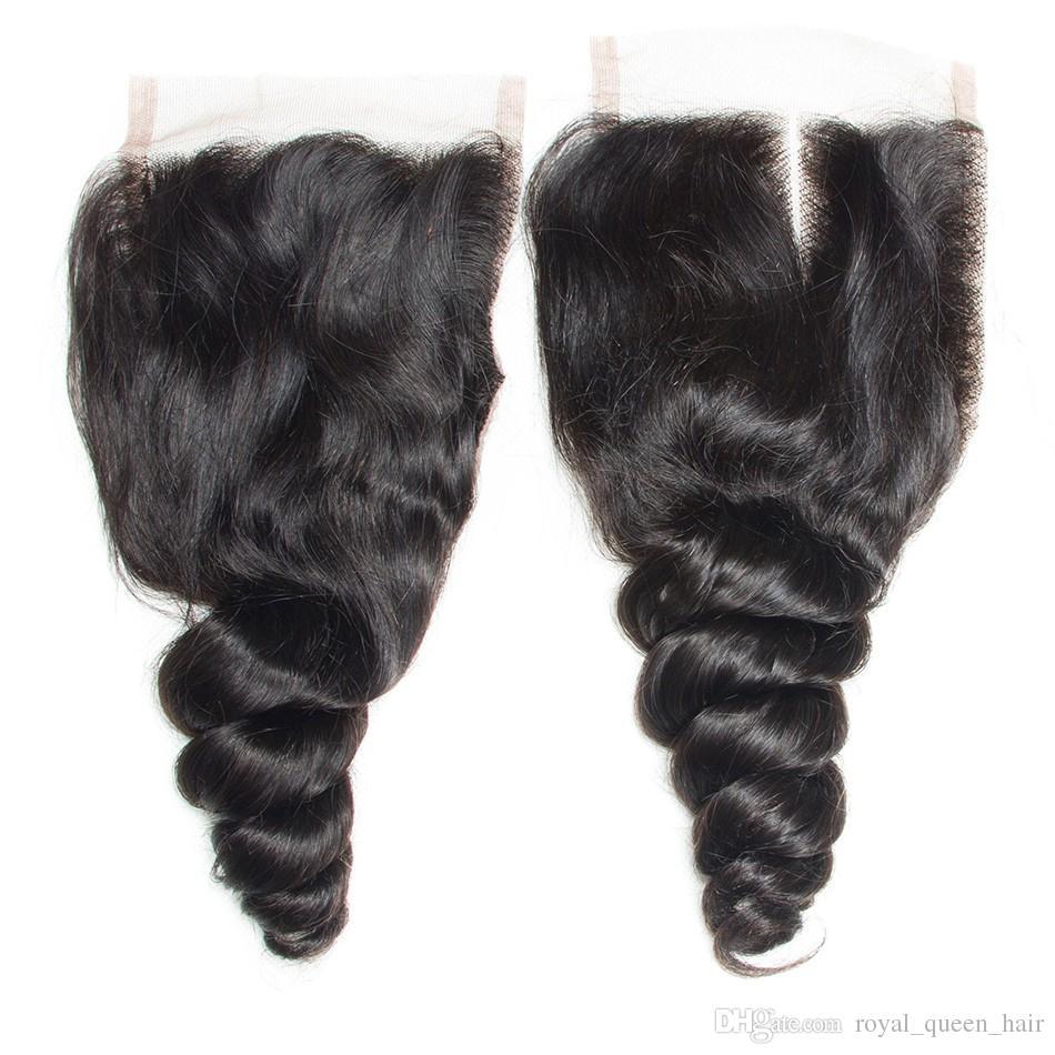 / Perulu Bakire Saç Gevşek Dalga ile Kapatma Perulu Gevşek Derin Dantel Üst Kapaklar Ve 3 Paketler Perulu Bakire İnsan saç örgüleri