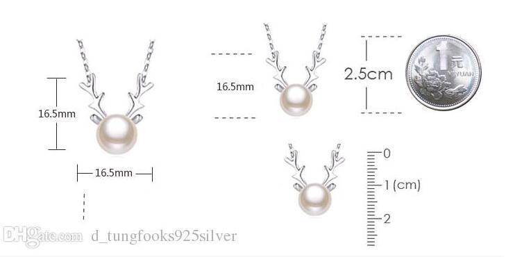 S925 Silver Jewelry Fashion Small Deer Natural Freshwater Pearl Antlers Christmas Short Women Necklaces Pendants Manufacturer Charms Jewelry