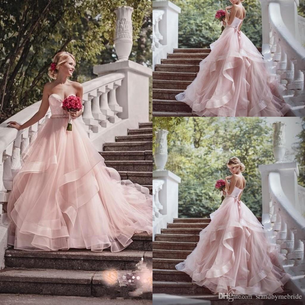 Großhandel 2017 Blush Pink Garden Brautkleider Mit Band 2016 Schatz ...