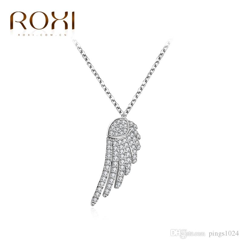 Wholesale roxi fashion women lady white gold plated wings of angel wholesale roxi fashion women lady white gold plated wings of angel pendant statement long necklace wedding party jewelry for mothers day gold heart pendant aloadofball Image collections